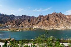 Al Rafisah Dam in Khor Fakkan in Arabische Emirate lizenzfreies stockfoto