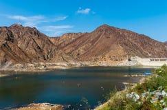 Al Rafisah Dam in Khor Fakkan in de Verenigde Arabische Emiraten royalty-vrije stock foto's
