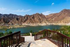 Al Rafisah Dam in Khor Fakkan in de Verenigde Arabische Emiraten stock foto's