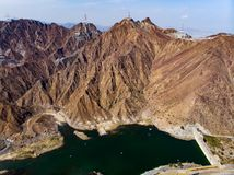 Al Rafisah Dam in Khor Fakkan in de Verenigde Arabische Emiraten royalty-vrije stock afbeeldingen