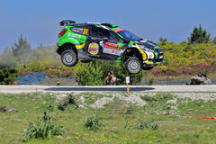 Al Rajhi of Saudi Arabia and Michael Orr UK. Compete in his Ford Fiesta WRC R5 during the second day of the WRC Portugal on May 22, 2015 in Viana do Castelo Stock Photography