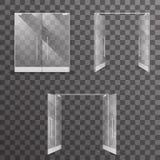 Al revés sistema de elementos interior de cristal realista aislado transparente abierto-cerrado del diseño arquitectónico de las  stock de ilustración