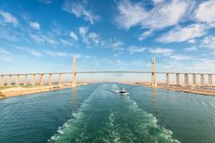 Al Salam Peace Bridge in Egypt. El Qantara, Egypt - November 5, 2017: The Mubarak Peace Bridge, also known as the Al Salam Bridge, or Al Salam Peace Bridge, is a Stock Image