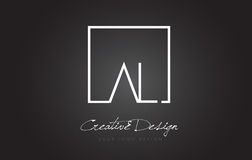 AL Square Frame Letter Logo-Design mit Schwarzweiss-Farben Lizenzfreies Stockbild