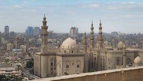 Al Sultan Hasan and Al Rifaii Mosques, Cairo, Egypt. View of Cairo from Salah Al Deen Citadel (Cairo Citadel) showing Al Sultan Hasan and Al Rifaii Mosques royalty free stock photos