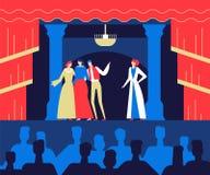 Al teatro - illustrazione variopinta di stile piano di progettazione illustrazione di stock