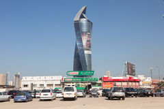 Al Tijaria Tower i Kuwait City Arkivfoton