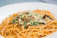 Al van de spaghetti funghi Stock Foto's