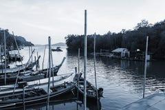 Al vissersboot in het overzees, Zwart-witte toon Royalty-vrije Stock Foto