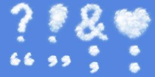 Al vriendelijk leesteken in wolken vormt zich stock foto