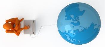 Al wereld in uw laptop Stock Fotografie