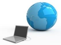 Al wereld in uw laptop Royalty-vrije Stock Foto's