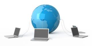 Al wereld in uw laptop Stock Foto's