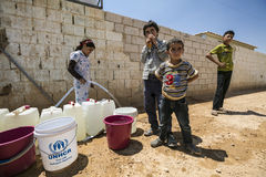 Al Zaatari难民营 免版税库存照片