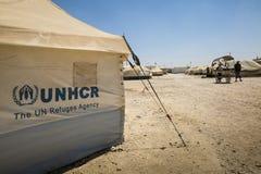 Al Zaatari refugee camp. Jordan life in Al Zaatari refugee camp. The entrance Stock Photo