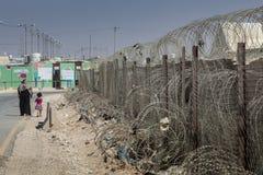 Al Zaatari refugee camp. Jordan life in Al Zaatari refugee camp. The entrance Stock Image