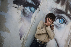 Al Zaatari refugee camp. Jordan life in Al Zaatari refugee camp. The entrance Royalty Free Stock Images