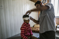 Al Zaatari refugee camp. Jordan life in Al Zaatari refugee camp. The syrian hospital. First aid to children Royalty Free Stock Image