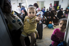 Al Zaatari refugee camp. Jordan life in Al Zaatari refugee camp. The syrian hospital. Pediatrics clinic Stock Photos