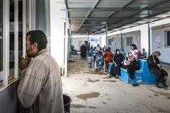 Al Zaatari refugee camp. Jordan life in Al Zaatari refugee camp. The syrian pharmacy, drug distribution Royalty Free Stock Image