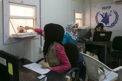 Al Zaatari refugee camp. Jordan life in Al Zaatari refugee camp. UNHCR food coupon distribution Stock Photography
