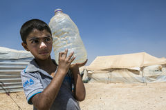 Al Zaatari refugee camp. Jordan life in Al Zaatari refugee camp. Water supply royalty free stock image