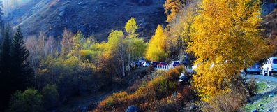 Al zhaofuxintai im Herbst, glücklicher Tourismus stockfotos