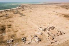 Al Zubarah Az Zubara, rujnujący antyczny Arabski miasteczko, westernu Katarski półwysep wybrzeże, Al Shamal Handel, perła, łowi zdjęcie royalty free