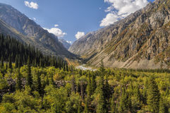 Ala Archa in Kyrgyzstan. Scenic green valley in Ala Archa national park in Tian Shan mountain range in Kyrgyzstan stock photo