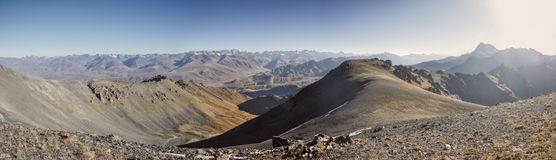 Ala Archa in Kyrgyzstan. Scenic panorama of highest mountain peaks in Ala Archa national park in Tian Shan mountain range in Kyrgyzstan stock image