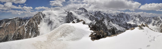 Ala Archa in Kyrgyzstan. Scenic panorama of highest mountain peaks in Ala Archa national park in Tian Shan mountain range in Kyrgyzstan stock photography