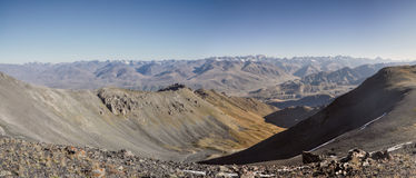 Ala Archa in Kyrgyzstan. Scenic panorama of highest mountain peaks in Ala Archa national park in Tian Shan mountain range in Kyrgyzstan royalty free stock image