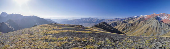 Ala Archa in Kyrgyzstan. Scenic panorama of highest mountain peaks in Ala Archa national park in Tian Shan mountain range in Kyrgyzstan stock images