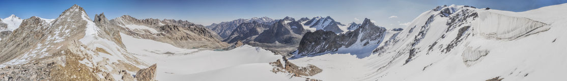Ala Archa in Kyrgyzstan. Scenic panorama of highest mountain peaks in Ala Archa national park in Tian Shan mountain range in Kyrgyzstan stock photo