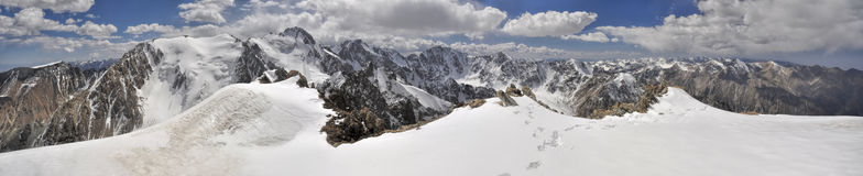 Ala Archa in Kyrgyzstan. Scenic panorama of highest mountain peaks in Ala Archa national park in Tian Shan mountain range in Kyrgyzstan royalty free stock images