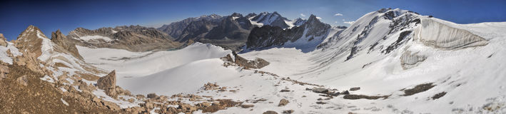 Ala Archa in Kyrgyzstan. Scenic panorama of highest mountain peaks in Ala Archa national park in Tian Shan mountain range in Kyrgyzstan royalty free stock photos