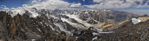 Ala Archa in Kyrgyzstan. Scenic panorama of Ala Archa national park in Tian Shan mountain range in Kyrgyzstan stock photography