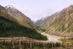 The Ala Archa National Park in May, Kyrgyzstan. The Ala Archa National Park is an alpine national park in the Tian Shan mountains of Kyrgyzstan. The park, which Stock Photography