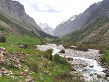 The Ala Archa National Park in the Tian Shan mountains of Bishkek Kyrgyzstan royalty free stock photography