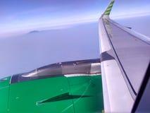 Ala del avión con Cloudly Bluesky Foto de archivo