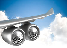 Ala dell'aeroplano del jet Fotografia Stock Libera da Diritti