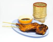 Ala di pollo arrostita e riso appiccicoso Fotografia Stock Libera da Diritti