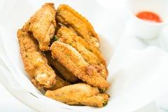 Ala di pollo croccante fritta fotografia stock