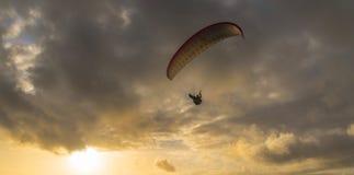 Ala flexible en la puesta del sol Foto de archivo libre de regalías