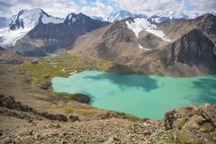 Ala kul lake and mountains. Lake, mountains, highlands Stock Images