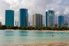 Ala Moana Beach park. Fronting the downtown skyline in Honolulu, Hawaii stock photography