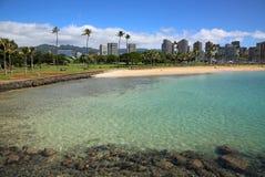 Ala Moana Beach Park. Landscape with Ala Moana Beach Park on Magic Island, Honolulu, Oahu, Hawaii Royalty Free Stock Photography