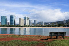 Ala Moana beach and park, Oahu, Hawaii. Ala Moana beach and office towers, from Ala Moana Park, Oahu, Hawaii Stock Images