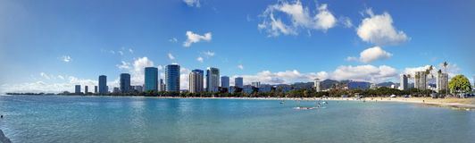 Ala Moana Beach Park with office building and condos in the back. Panoramic of Ala Moana Beach Park with office building and condos in the background during a Stock Image