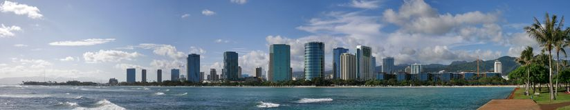 Ala Moana Beach Park Panorama. This panoramic landscape photo was taken at the Ala Moana Beach Park in Oahu, Hawaii on a sunny day in April 2017 Stock Photography